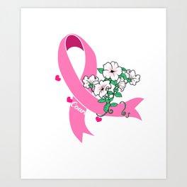 Breast Cancer Awareness Gift Hope Faith Courage Strength Print Art Print