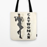 catwoman Tote Bags featuring Catwoman by Lily's Factory