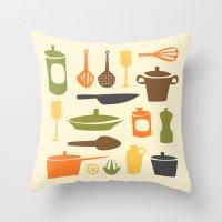kitchen Throw Pillows featuring Kitchen by Bellwheel
