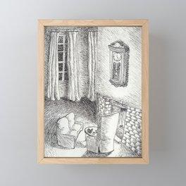 Tea time by the fire Framed Mini Art Print