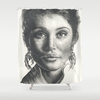 gemma Shower Curtains featuring Gemma  by Lucy Schmidt Art