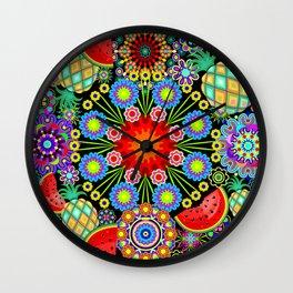 Mandalas & Exotic Fruits Pattern Wall Clock
