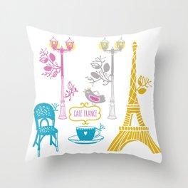 Cafe France Throw Pillow