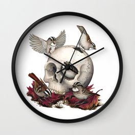 White-throated Sparrows Forage Amongst Human Remains Wall Clock