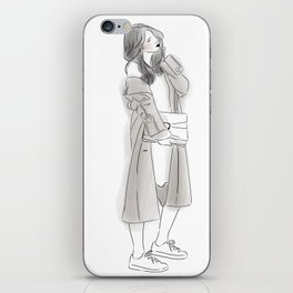 Pretty Woman with Wavy Hair Wearing Grey Long Coat, Sneakers and Hand Bag iPhone Skin