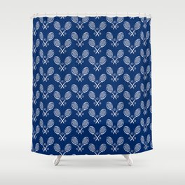 Foulard for You: White on Navy Shower Curtain