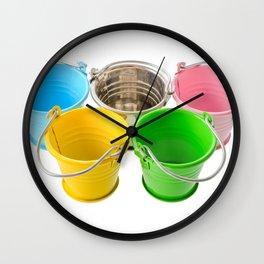 Colorful buckets Wall Clock