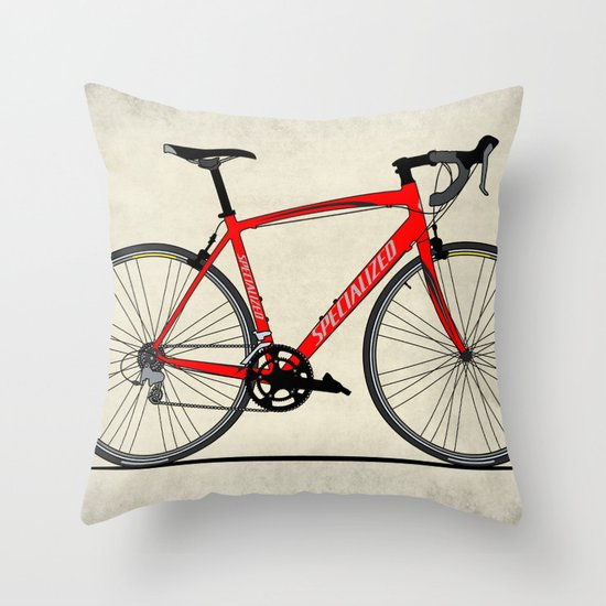 Specialized Racing Road Bike Throw Pillow