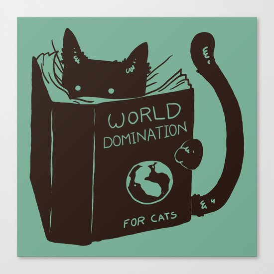 World Domination for Cats (Green) Canvas Print