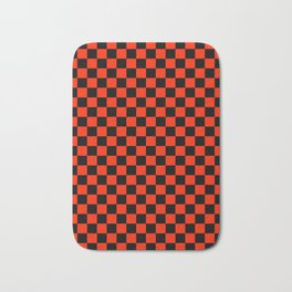 Black and Scarlet Red Checkerboard Bath Mat