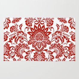 Damask in red Rug