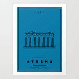 Minimal Athens City Poster Art Print
