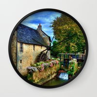 postcard Wall Clocks featuring French Postcard by Exquisite Photography by Lanis Rossi