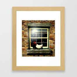 Rooster & Hen on a window Ledge Framed Art Print