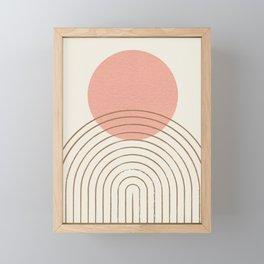 Pink Sun Mid-Century Full Framed Mini Art Print