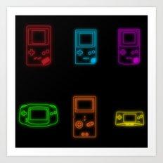 Neon Game Boy History Art Print