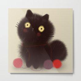 Cute Fuzzy Black Cat with Yarn // Black // Kitty Metal Print