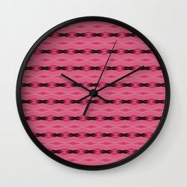 Pink and Black Diamond Pattern Wall Clock