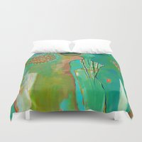 "flora bowley Duvet Covers featuring ""Wish Believe"" Original Painting by Flora Bowley by Flora Bowley"