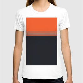 70s Orange Retro Striped Pattern T-shirt