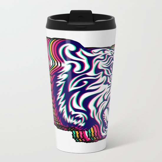 3D Tiger Metal Travel Mug