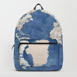Light brown and blue watercolor detailed world map Backpack