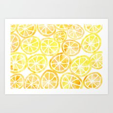 Yellow lemon in watercolor Art Print