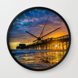 Low Angle Sunset at Newport Pier Wall Clock