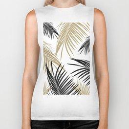 Gold Black Palm Leaves Dream #1 #tropical #decor #art #society6 Biker Tank