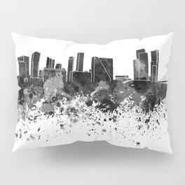 Rotterdam skyline in black watercolor Pillow Sham