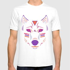 Eighties Wolf Mens Fitted Tee MEDIUM White