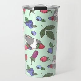 Guinea Pig Pattern in Mint Green Background with mix berries Travel Mug