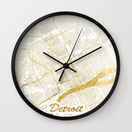 Detroit Map Gold Wall Clock