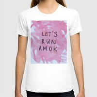 let's run amok White MEDIUM Womens Fitted Tee
