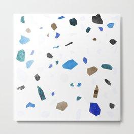 Sky Blue and Teal Terrazzo Metal Print
