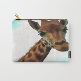 Hello up there! Fun Giraffe With Nerdy Expression Carry-All Pouch