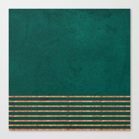 EMERALD COPPER GOLD BRASS STRIPES Canvas Print