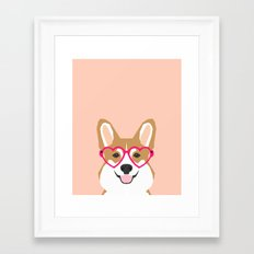 Corgi Love - Valentines heart shaped glasses on funny dog for dog lovers pet gifts customizable dog  Framed Art Print