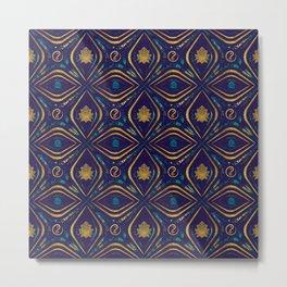 Lotus and OM symbol Luxury Pattern Metal Print