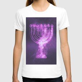 Hanukkah menorah symbol. Menorah symbol of Judaism. Abstract night sky background. T-shirt