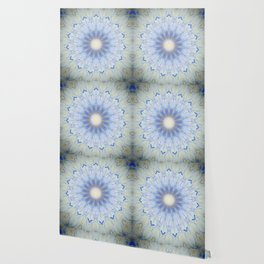 Crystal Blue Decorative Mandala Wallpaper