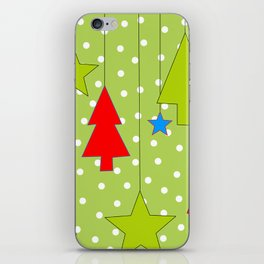 Christmas Trees and Stars Print with Polka Dot Background iPhone Skin