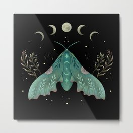 Luna and Moth - Midnight Black Metal Print