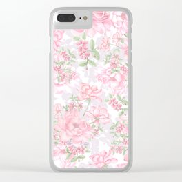 Vintage Peony Pattern Clear iPhone Case