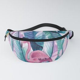 New Modern Green Green Plantain Flamingo Fanny Pack