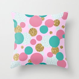 Golden Bubble Glitter Pattern Throw Pillow