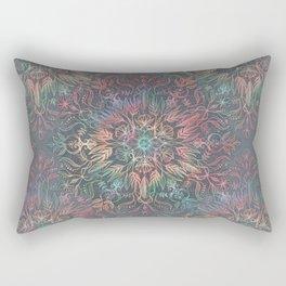 Winter Sunset Mandala in Charcoal, Mint and Melon Rectangular Pillow