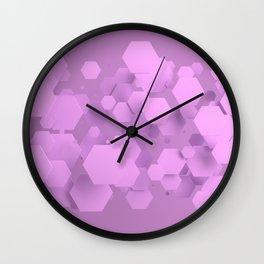 Purple hexagons Wall Clock
