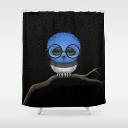 Baby Owl with Glasses and Estonian Flag Shower Curtain