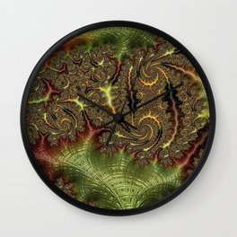 Funky Weaves Weaving Branches Green Red Golden Fractal Abstract Art Pattern Digital Graphic Design Wall Clock